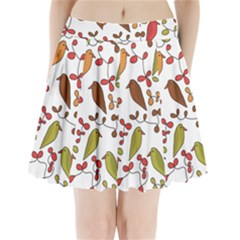Birds and flowers 3 Pleated Mini Skirt