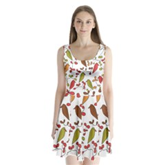 Birds and flowers 3 Split Back Mini Dress