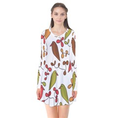 Birds and flowers 3 Flare Dress
