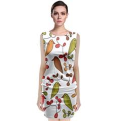 Birds and flowers 3 Sleeveless Velvet Midi Dress