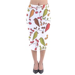 Birds and flowers 3 Velvet Midi Pencil Skirt