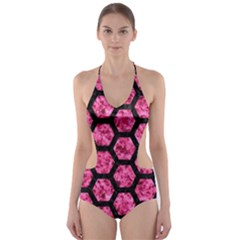 HXG2 BK-PK MARBLE (R) Cut-Out One Piece Swimsuit