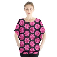 Hexagon2 Black Marble & Pink Marble (r) Batwing Chiffon Blouse