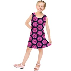 Hexagon2 Black Marble & Pink Marble (r) Kids  Tunic Dress