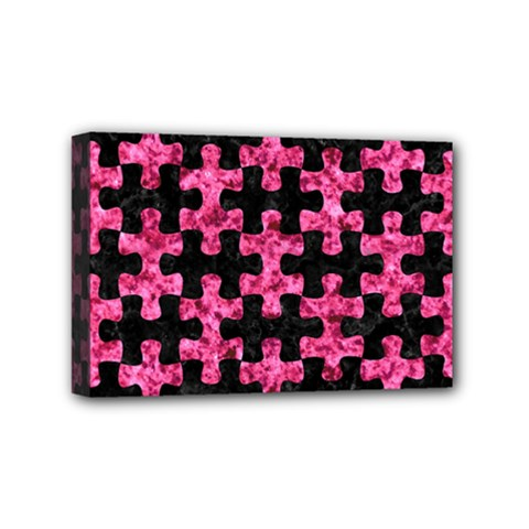 Puzzle1 Black Marble & Pink Marble Mini Canvas 6  X 4  (stretched)