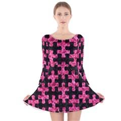 PUZ1 BK-PK MARBLE Long Sleeve Velvet Skater Dress