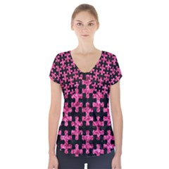 Puzzle1 Black Marble & Pink Marble Short Sleeve Front Detail Top