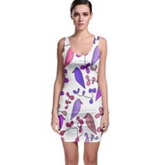Flowers and birds pink Sleeveless Bodycon Dress