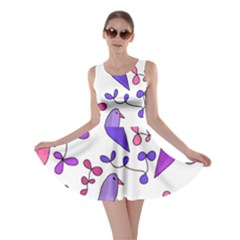 Flowers and birds pink Skater Dress