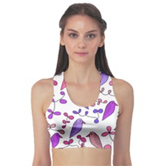 Flowers and birds pink Sports Bra
