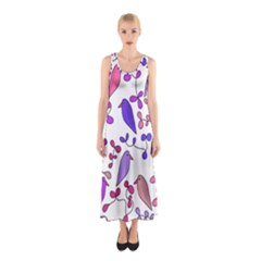 Flowers and birds pink Sleeveless Maxi Dress