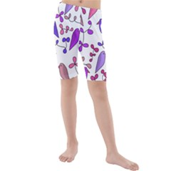 Flowers and birds pink Kids  Mid Length Swim Shorts