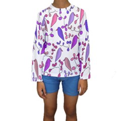 Flowers and birds pink Kids  Long Sleeve Swimwear