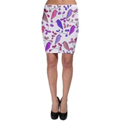 Flowers and birds pink Bodycon Skirt