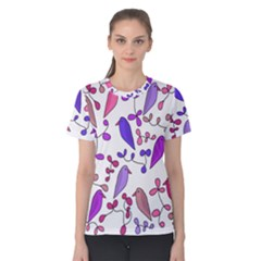 Flowers and birds pink Women s Cotton Tee