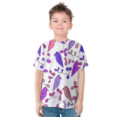 Flowers and birds pink Kids  Cotton Tee