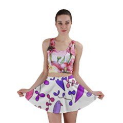 Flowers and birds pink Mini Skirt