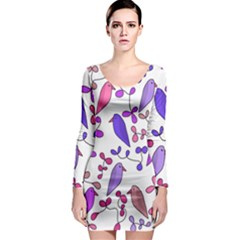 Flowers and birds pink Long Sleeve Bodycon Dress