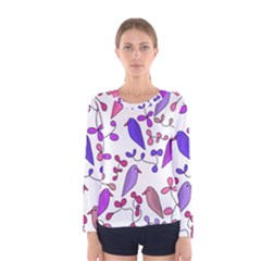 Flowers and birds pink Women s Long Sleeve Tee