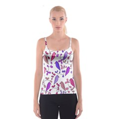 Flowers and birds pink Spaghetti Strap Top