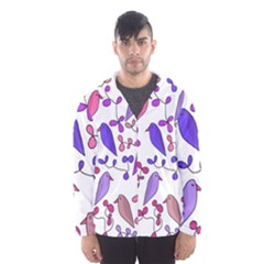 Flowers and birds pink Hooded Wind Breaker (Men)