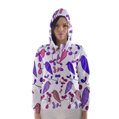 Flowers and birds pink Hooded Wind Breaker (Women)