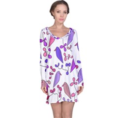 Flowers and birds pink Long Sleeve Nightdress