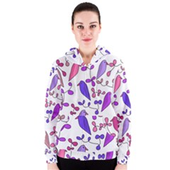 Flowers and birds pink Women s Zipper Hoodie