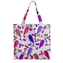 Flowers and birds pink Zipper Grocery Tote Bag
