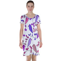 Flowers and birds pink Short Sleeve Nightdress