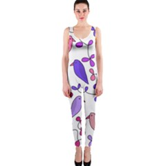 Flowers and birds pink OnePiece Catsuit
