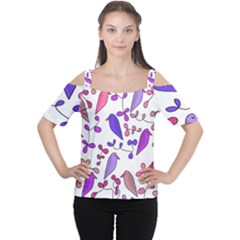 Flowers and birds pink Women s Cutout Shoulder Tee