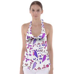 Flowers and birds pink Babydoll Tankini Top
