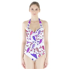 Flowers and birds pink Halter Swimsuit