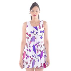 Flowers and birds pink Scoop Neck Skater Dress