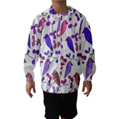 Flowers and birds pink Hooded Wind Breaker (Kids)