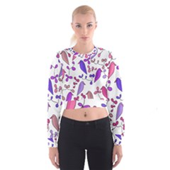 Flowers and birds pink Women s Cropped Sweatshirt