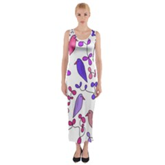 Flowers and birds pink Fitted Maxi Dress
