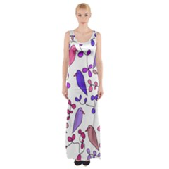 Flowers and birds pink Maxi Thigh Split Dress