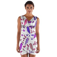 Flowers and birds pink Wrap Front Bodycon Dress