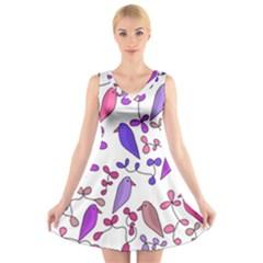 Flowers and birds pink V-Neck Sleeveless Skater Dress