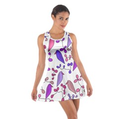 Flowers and birds pink Cotton Racerback Dress