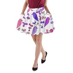 Flowers and birds pink A-Line Pocket Skirt