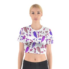 Flowers and birds pink Cotton Crop Top
