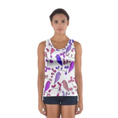 Flowers and birds pink Women s Sport Tank Top