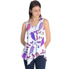 Flowers and birds pink Sleeveless Tunic