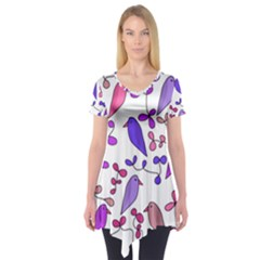 Flowers and birds pink Short Sleeve Tunic