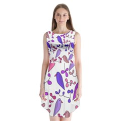Flowers And Birds Pink Sleeveless Chiffon Dress