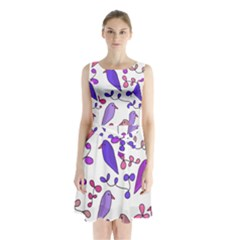 Flowers and birds pink Sleeveless Chiffon Waist Tie Dress