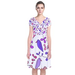 Flowers and birds pink Short Sleeve Front Wrap Dress